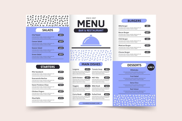 Минималистский синий шаблон страницы меню