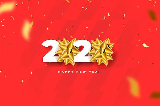 Реалистичная новогодняя открытка с золотым бантом