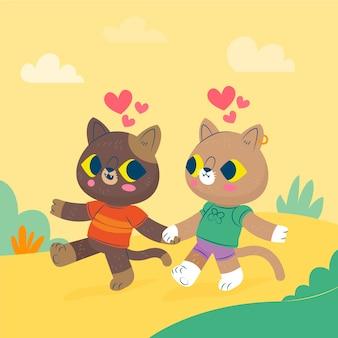 Милая пара животных в день святого валентина