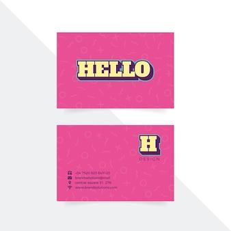 Розовый шаблон визитной карточки графического дизайнера