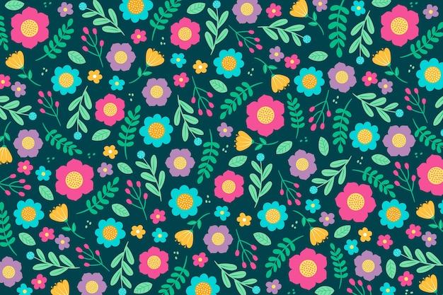 カラフルな頭が変な花柄の壁紙