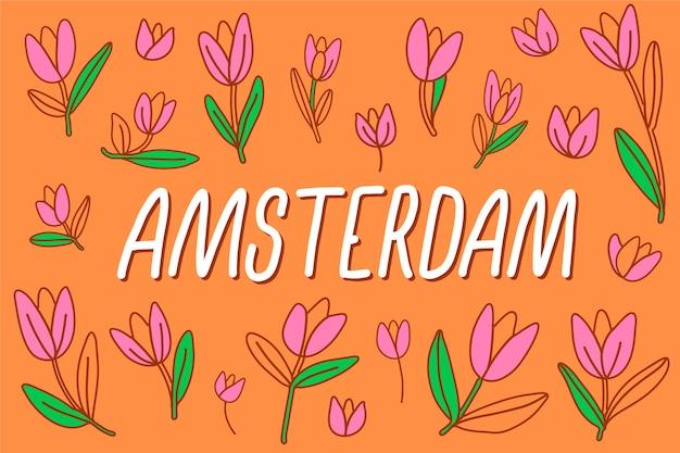 Красочная надпись города амстердам