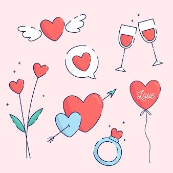 フラットバレンタインデー要素コレクション