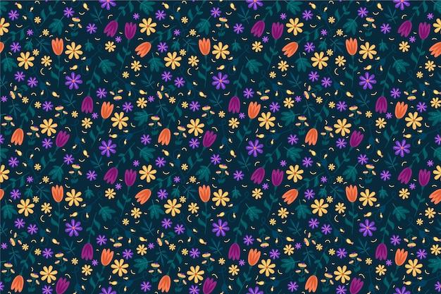 カラフルな頭が変な花プリントの背景