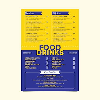 Современный шаблон меню с различными блюдами и напитками