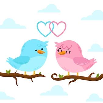 かわいいバレンタインデーの鳥のカップル