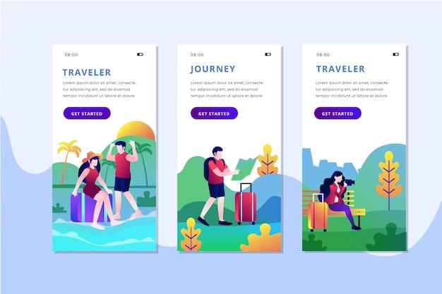 Набор экранов приложения для путешествий