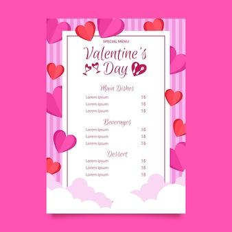 Плоское меню на день святого валентина
