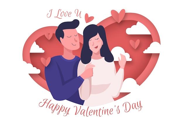 カップルのイラストとフラットバレンタインデーの背景