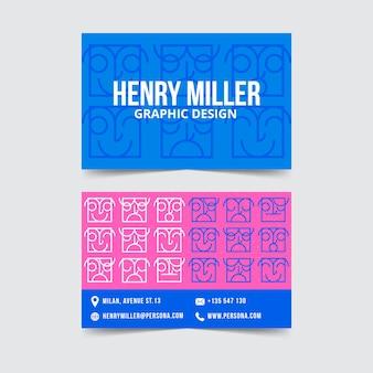 Творческий красочный шаблон визитной карточки графического дизайнера