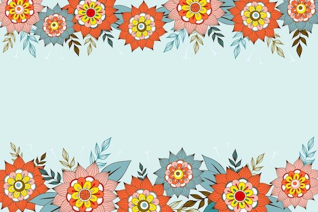 黒板の壁紙スタイルに花を描く