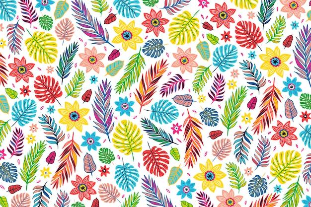カラフルなエキゾチックな花柄の壁紙デザイン
