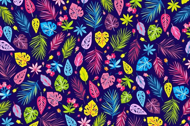 カラフルなエキゾチックな花柄の壁紙のコンセプト