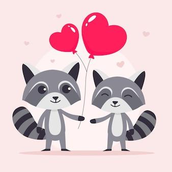 フラットなデザインのバレンタインデーのアライグマのカップル