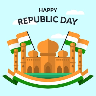 インド共和国記念日のテーマフラットデザイン