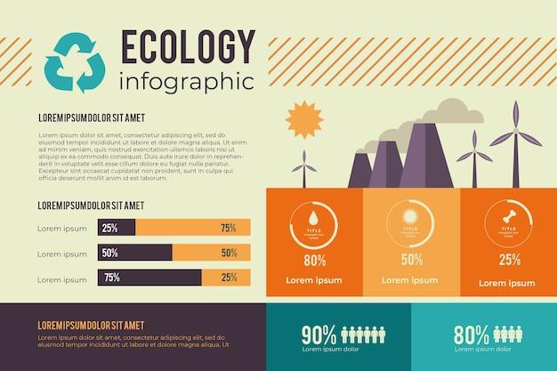 Инфографики концепция экологии в ретро-цвета