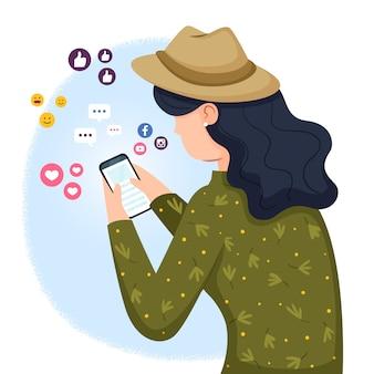 ソーシャルメディアにはまって人とイラストのコンセプト