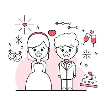 Плоский дизайн свадебной пары