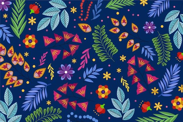 青の背景にカラフルな頭が変な花柄