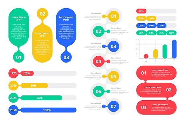フラットなデザインのカラフルなインフォグラフィック要素