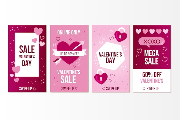 Пакет историй о продаже на день святого валентина