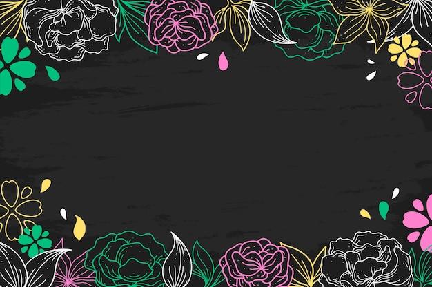 黒板スタイルで手描きの花