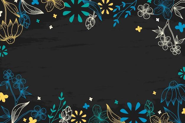 黒板に花のカラフルな図面
