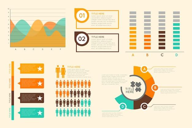 Плоская инфографика с ретро цветами