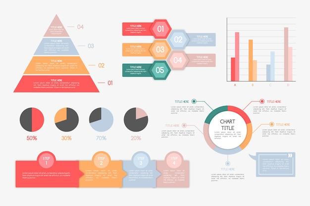 レトロな色とフラットなデザインのインフォグラフィック