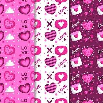 フラットなデザインスタイルのバレンタインパターンコレクション