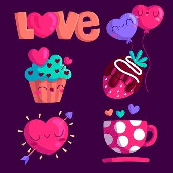 バレンタインの日の要素のコレクション