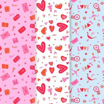 手描きのバレンタインのパターンのコレクション