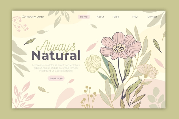 手描きの自然のランディングページ