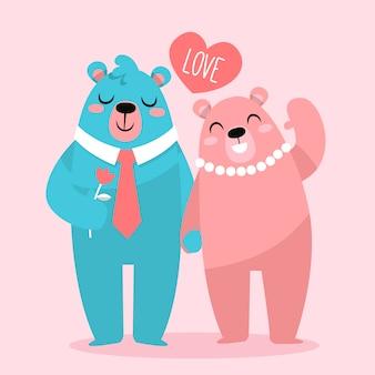 かわいいバレンタインデーのクマのカップル