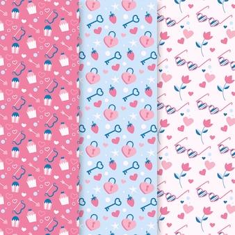 手描きのバレンタインのパターンのパック