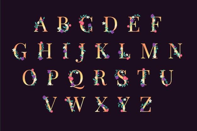 Алфавит с элегантными цветами и золотым дизайном