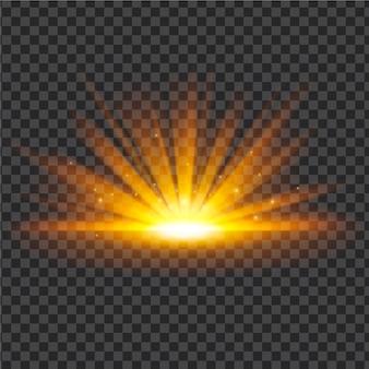 輝く日の出の光の効果