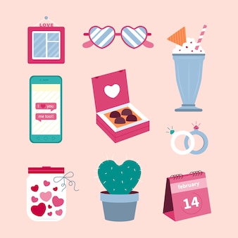 フラットなデザインのバレンタインデーの要素コレクション