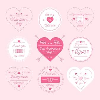 バレンタインデーのためのフラットなデザインバッジコレクション