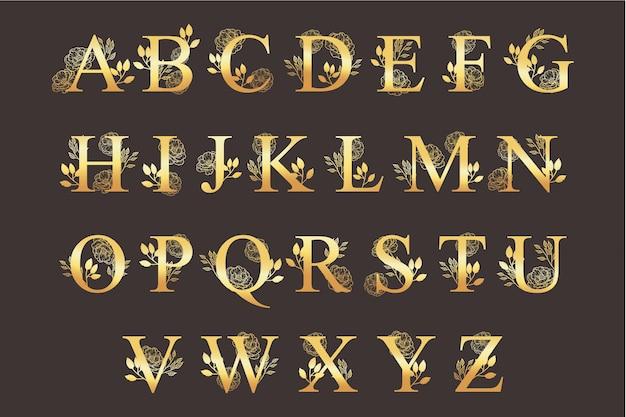 Золотой алфавит с элегантными красивыми цветами