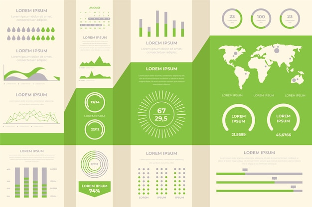 Плоский дизайн инфографики с ретро-цвета