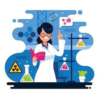 Иллюстрация женского ученого