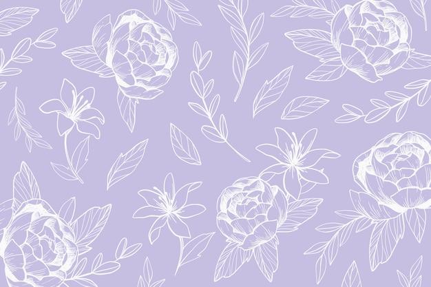 カラフルな手描きの花の背景
