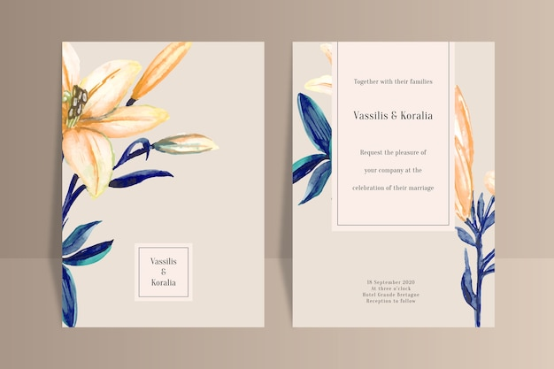 Шаблон свадебного приглашения с большим цветком