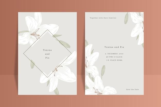 花と結婚式招待状のコンセプト