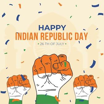 Плоский дизайн индийской республики день концепция