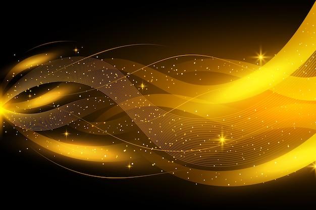 黄金の光沢のある波背景