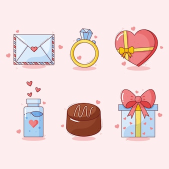 要素のコレクションのバレンタインの日の概念