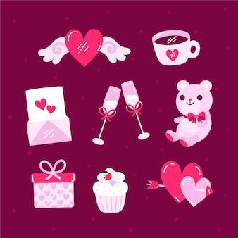 バレンタインデーの要素のコレクションの描画
