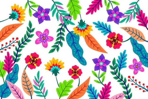 カラフルなエキゾチックな花の背景デザイン